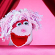 Puppet show on pink background — Stock Photo