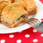 Sweet baklava on plate close-up — Stock Photo #34111993