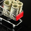 Shopping trolley with dollars — Stock Photo #34112881