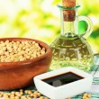 Soy products on table on bright background — Stock Photo #34114249