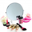 Group decorative cosmetics for makeup and mirror, isolated on white — Stock Photo #34114421