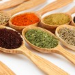 Assortment of spices in wooden spoons — Stock Photo #34115061