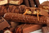 Delicious chocolate bars close up — Stock Photo