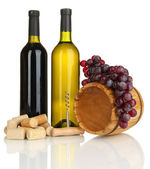 Wine and corks isolated on white — Stock Photo