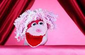 Spettacolo di marionette su sfondo rosa — Foto Stock