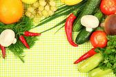 Kochen-konzept. lebensmittel auf tischtuch hintergrund — Stockfoto