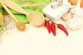 Cooking concept. Groceries on wooden table — Stock Photo