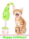 白で隔離され、手作りのクリスマス ツリーとかわいい小さな赤い子猫 — ストック写真