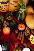 Table setting for Halloween with pumpkin and candles close-up — Стоковое фото