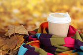Hot drink in paper cup with color scarf and yellow leaves on bright background — Stock Photo