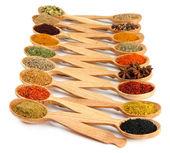Assortiment van specerijen in houten lepels, geïsoleerd op wit — Stockfoto