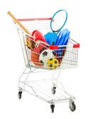Carro de compras con equipamiento deportivo — Foto de Stock