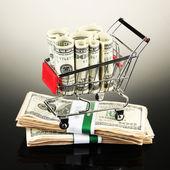 Carrito de compras con dólares — Foto de Stock