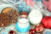 Christmas composition with milk — Stock Photo