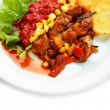 Chili Corn Carne - traditional mexican food, on white plate, on napkin, isolated on white — Stock Photo