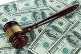 Gavel and money close-up — Stock Photo