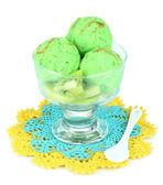 Delicious ice cream on glass vase isolated on white — Stock Photo