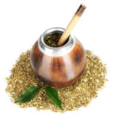 Calabash and bombilla with yerba mate isolated on white — Stock Photo