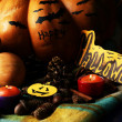 Composition for Halloween with pumpkins — Stock Photo #34279063