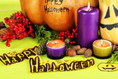 Composition for Halloween on wooden table close-up — Stockfoto
