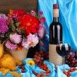 Wonderful autumn still life with fruit and wine — Foto Stock