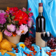 Wonderful autumn still life with fruit and wine — ストック写真