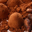 Chocolate truffles and cocoa, close up — Zdjęcie stockowe