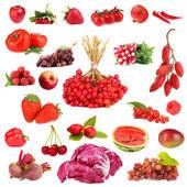 Raccolta di frutta e verdura isolato su bianco — Foto Stock