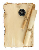 Old paper, scrolls and compass isolated on white — Stock Photo