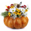 Stock Photo: Beautiful autumn composition in pumpkin isolated on white