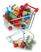 Arabası alışveriş noel hediyeleri — Stok fotoğraf