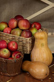 Apples in baskets and pumpkins on shelf close up — Stockfoto