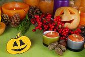 Skład na halloween z na drewniany stół szczegół — Zdjęcie stockowe
