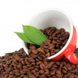 Coffee beans in cup on white background — Foto Stock