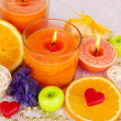 Romantic lighted candles close up — Stock Photo #34427353