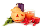 Composition for Halloween with pumpkin and candles isolated on white — Stock Photo