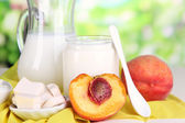 Fresh dairy products with peaches on wooden table on natural background — Photo