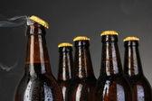 Horní části otevřené mokré pivní láhev na tmavém pozadí — Stock fotografie