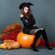 Halloween witch with broom on gray background — Stock fotografie