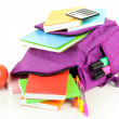 Purple backpack with school supplies isolated on white — Stock Photo #34432677