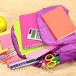 Purple backpack with school supplies on wooden background — Stock Photo #34433619