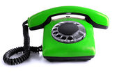 Red retro telephone, isolated on white — Stock Photo