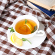 Cup of tea with ginger on plaid with a book — Foto Stock