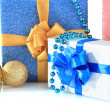 Beautiful bright gifts and christmas decor, isolated on white — Stockfoto