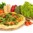 Tasty vegetarian pizza and vegetables, isolated on white — Foto Stock