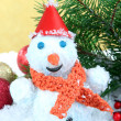 Beautiful snowman and Christmas decor, on golden background — Photo