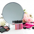Group decorative cosmetics for makeup and mirror, isolated on white — Stock Photo