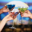 Stock Photo: Cocktails in hands in nightclub