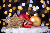 Beautiful Christmas composition on table on bright background — Стоковое фото