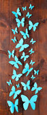 Paper blue butterflies on wooden board background — ストック写真